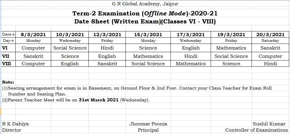 term 2 exam for class vi-viii